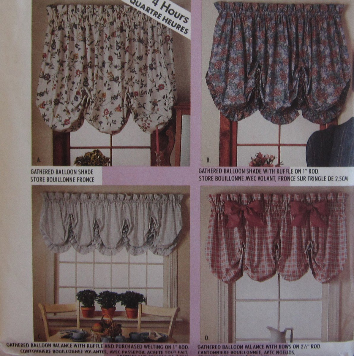 McCalls 4620 Pattern Balloon Shades And Valances Home Dec
