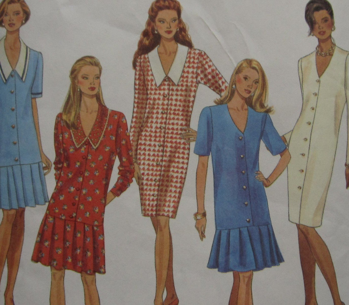 Uncut Pattern Simplicity 8536 Misses Pleated Flounce Dress Drop Waist Sz. 10-16