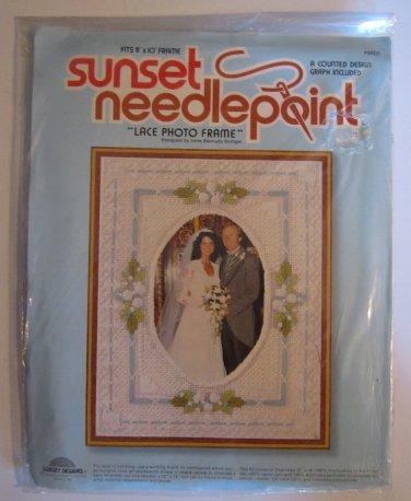 Vintage Needlepoint Kit Lace Photo Frame for Wedding Sunset Factory Sealed