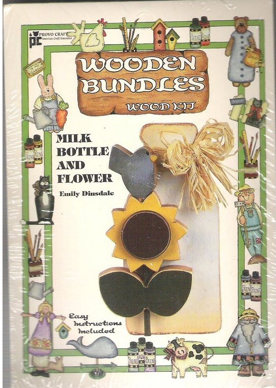 Wooden Bundles Wood Painting Kit Milk Bottle Sunflower New in Package