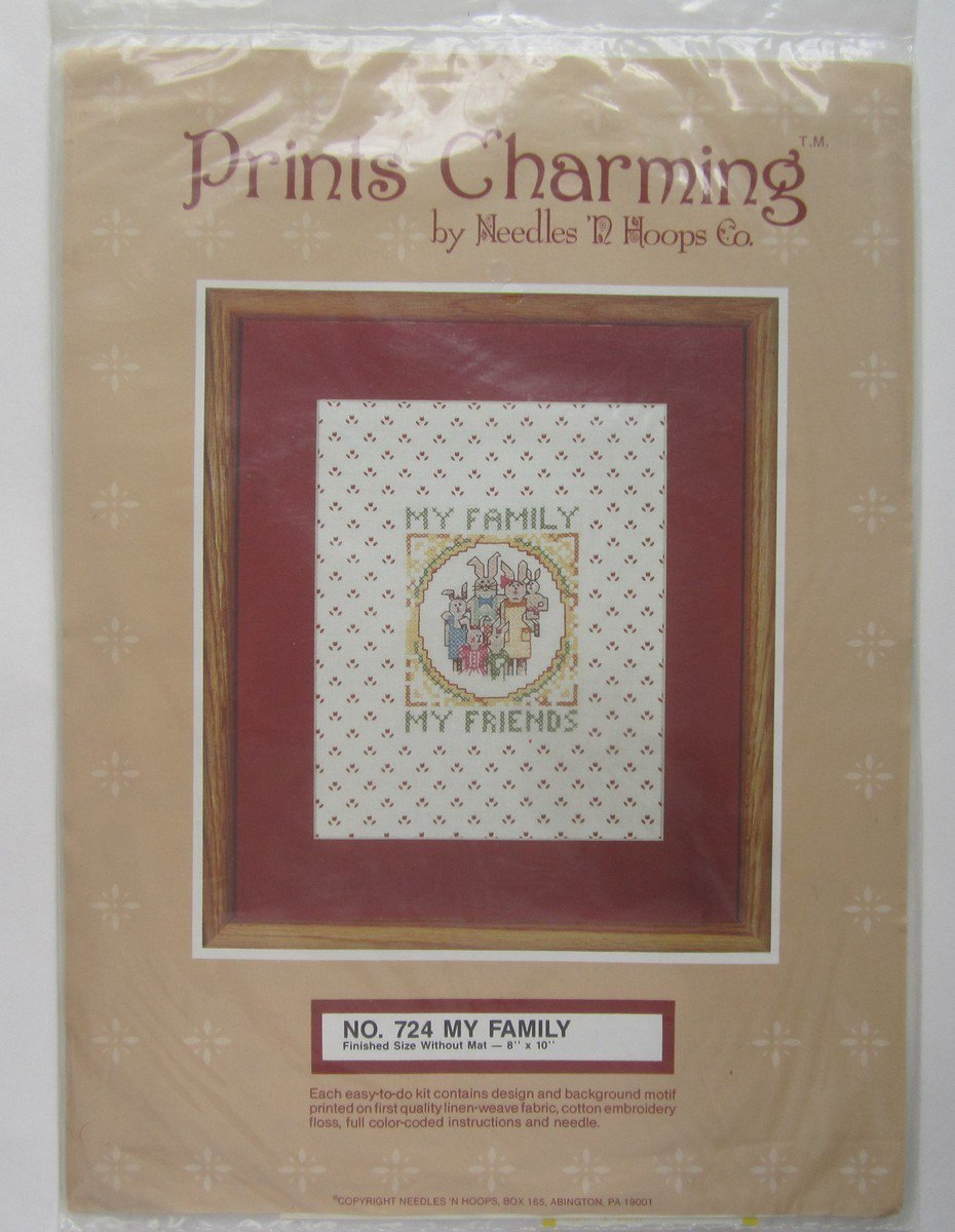 Family Friends Printed Cross Stitch Kit Prints Charming Needles n Hoops Factory Sealed