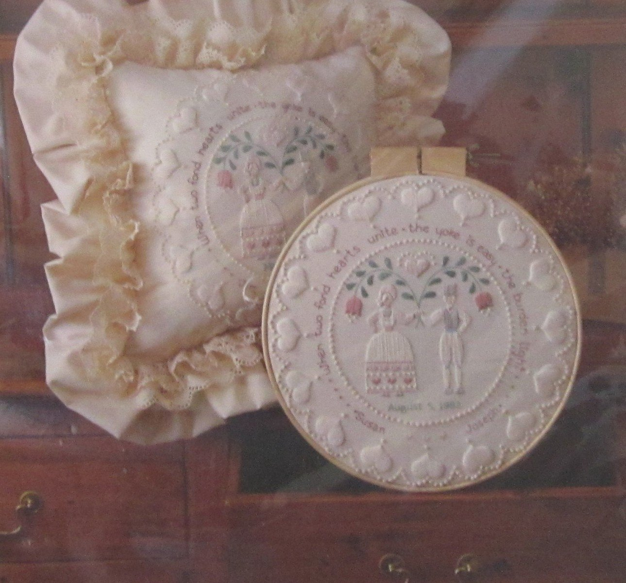 Sunset Stitchery Kit Folk Art Wedding Ring Hoop or Pillow Factory Sealed