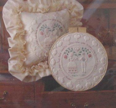 Sunset Stitchery Kit Folk Art Wedding Ring Hoop or Pillow Factory Sealed