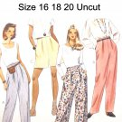 McCalls 7496 Sewing Pattern Misses Pull On Pants Shorts Size 16 18 20 Uncut