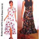 Butterick 4470 Sewing Pattern Princess Seam Flared Shirt Dress Ruffled Hem Sizes 6-8-10 UNCUT