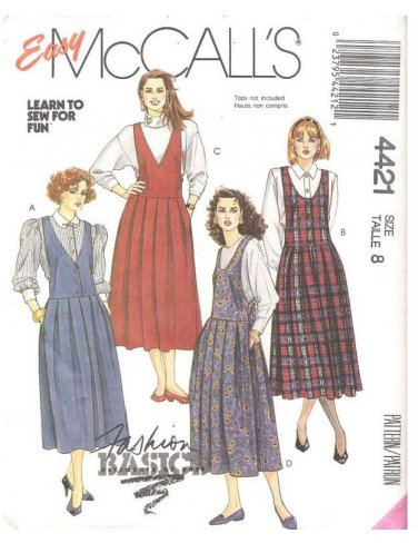 Womens Dropped Waist Jumpers Vintage Sewing Pattern McCalls 4421 Misses Size 8 UNCUT