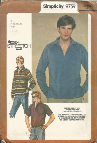 Simplicity 9739 Pattern Mens Knit Pullover Top Size 42 44 46 Vintage