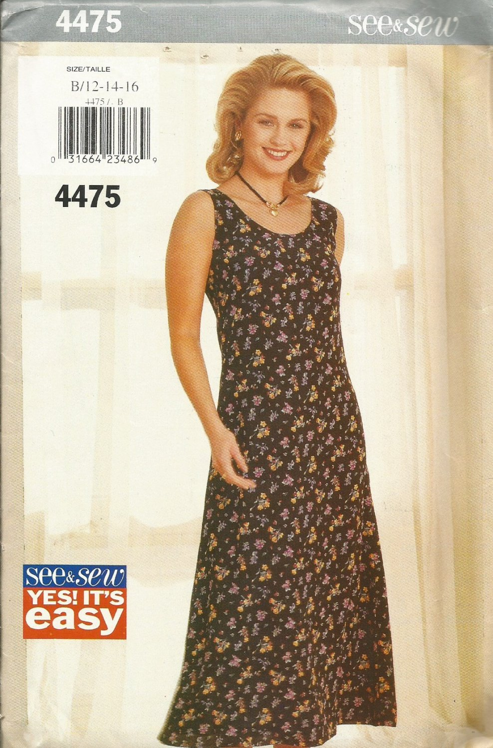 Uncut Pattern Butterick 4475 Misses Semi Fitted Sleeveless Summer Dress See & Sew Easy Size 12 14 16