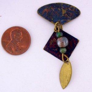 One (1) Hand Embellished Patina Finished Metal Design Element