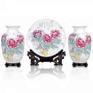 Fine porcelain vase and plate set 3 in 1(jdp002)