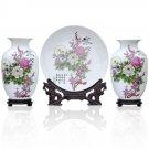 Fine porcelain vase and plate set 3 in 1(jdp003)