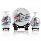 Fine porcelain vase and plate set 3 in 1(jdp006)