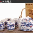 High quality blue dragon porcelain teapot set plus free gift jade bracelet