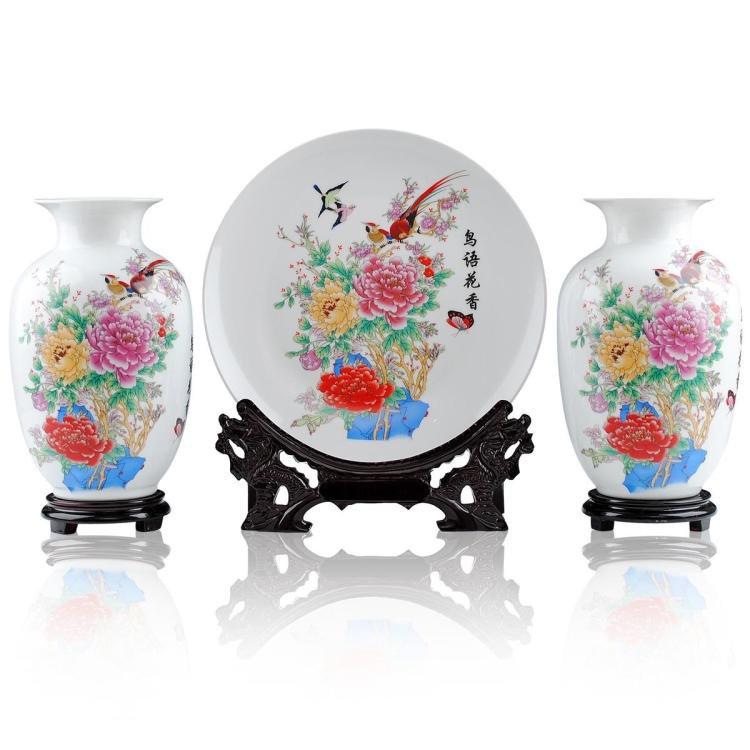 Fine porcelain vase and plate set 3 in 1[jdp007]