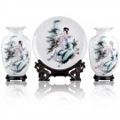 Fine porcelain vase and plate set 3 in 1[jdp009]