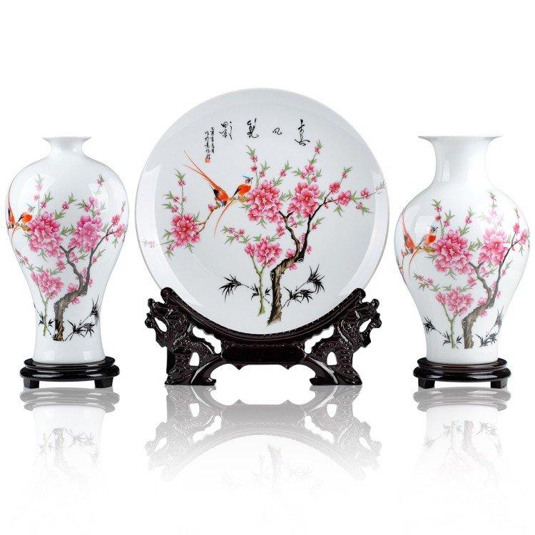 Fine porcelain vase and plate set 3 in 1[jdp0010]