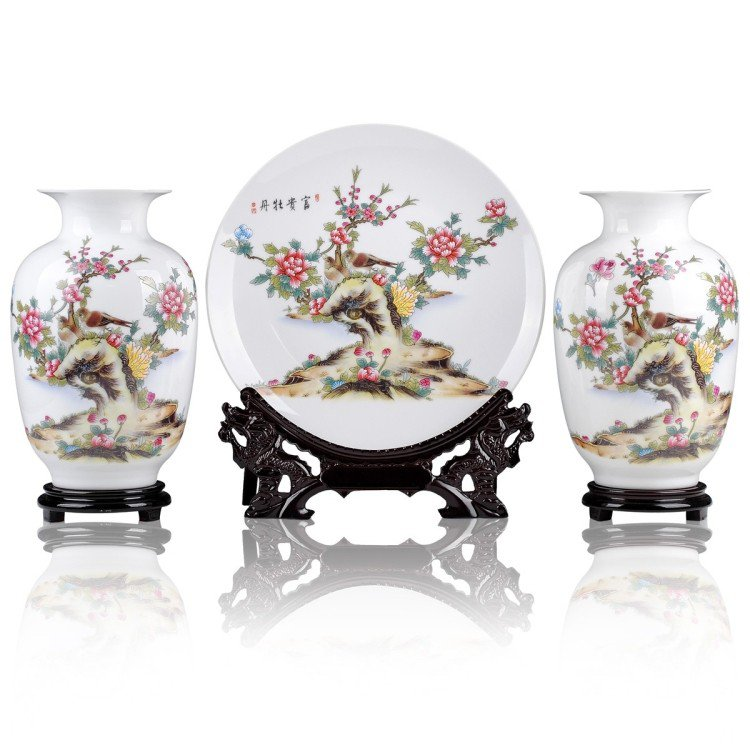 Fine porcelain vase and plate set 3 in 1[jdp0012]