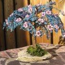 Beaded tree, blue & pink