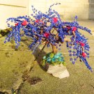 Beaded tree, red & blue