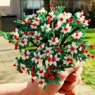 Beaded bouquet, white & red