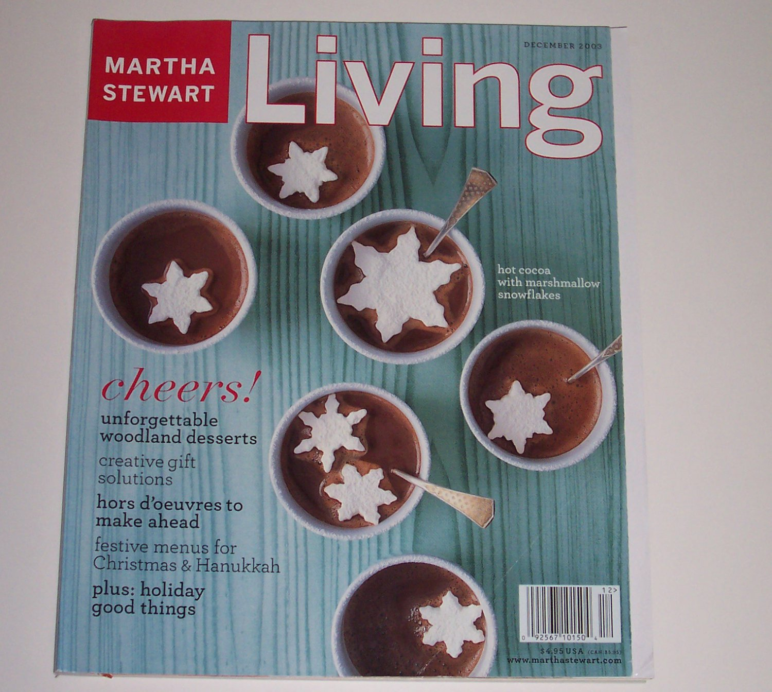 """Martha Stewart Living, """"cheers!"""" December 2003 (features Christmas and Chanukah)"""