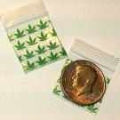"1000 Green Leaves Baggies 1.25 x 1.25"" Mini Ziplock Bags 125125"