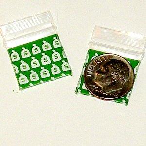 """200 Money Bags Baggies 3434 ziplock 0.75 x 0.75"""" Apple Brand"""