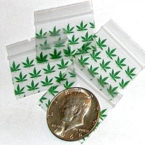 """1000 Green Leaves Baggies 1510,  1.5 x 1"""" ziplock bags"""