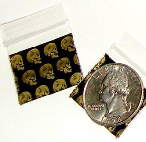 "Skulls 200 Baggies 1010  small ziplock bags 1 x 1"""
