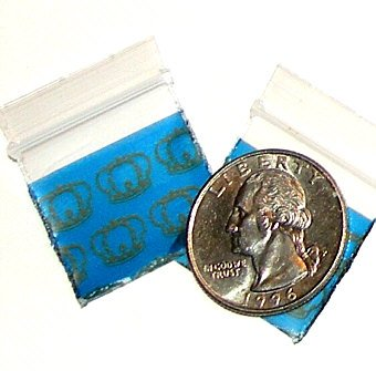 "Royal Crowns 200 Baggies 1010  small ziplock bags 1 x 1"""