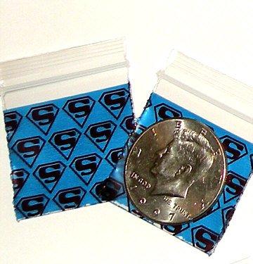 "200 Superman Baggies 1.5 x 1.5"" Small Ziplock Bags 1515"