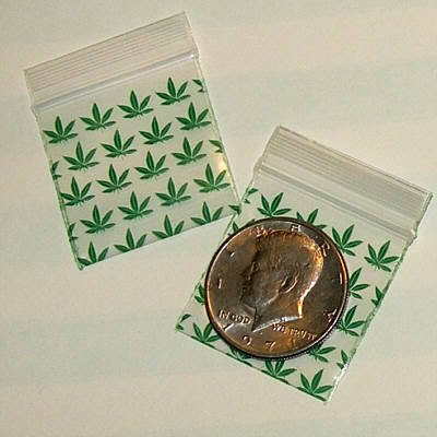 "1000 Green Leaves Baggies 1.5 x 1.5"" Small Ziplock Bags 1515"