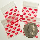 200 Baggies Red Lips design 1010  small ziplock bags 1 x 1""
