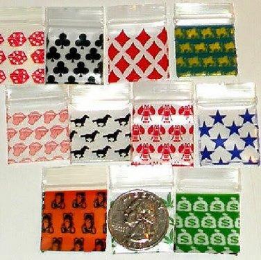 200 Mixed Designs 1010 Baggies 1 x 1 in. Small Ziplock Bags