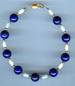 Blue Lapis and Mother of Pearl Bracelet