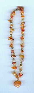 Carnelian Chip Necklace with Heart Pendant