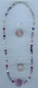 Fluorite Necklace and Earring Set