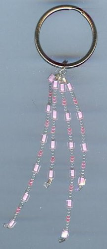 Pink and Grey Beaded Keychain