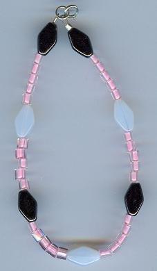 Black White and PInk Beaded Bracelet