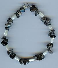 Snowflake Obsidian and Mother of Pearl Bracelet