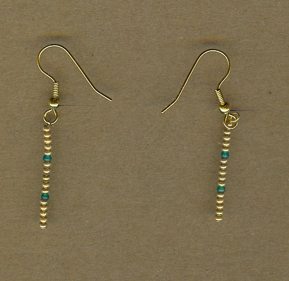 Gold and Green Beaded Earrings
