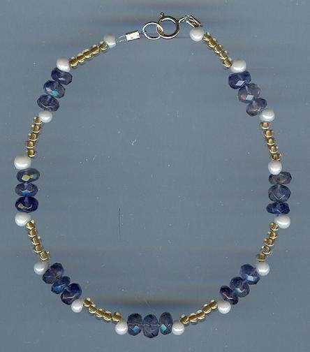 Iolite, Pearl and Glass Bead Bracelet