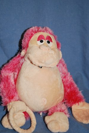 Plush Pink GORILLA Animated Shakes & Screams EUC