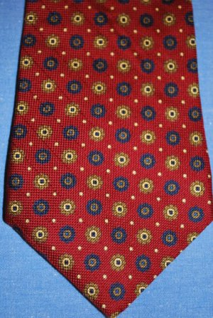 TOMMY Hilfger CLASSY Tie Red Navy Khaki 100% Silk EUC