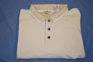 REEBOK GOLF Polo Shirt Cream &amp; Khaki Size XL EUC