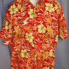 Pierre Cardin RED Hawaiian Beach Shirt Size MED EUC0