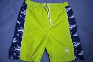Ocean Pacific OP Green/Blue Shark Swim Trunk Suit Sz 7