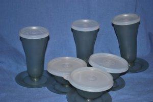 VTG TUPPERWARE Ice Cream Dessert Bowl Set 15 Pc GRAY