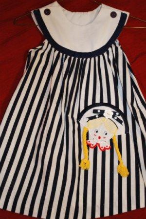 Boutique SUNDRESS Blue & White Striped Little Girl 4