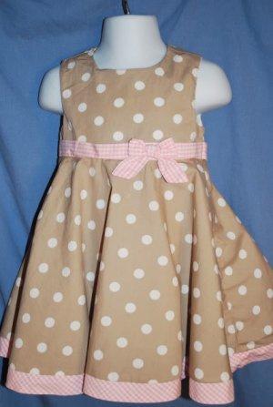 POLLY & FRIENDS Brown & Pink Dressy Dress Size 24M EUC